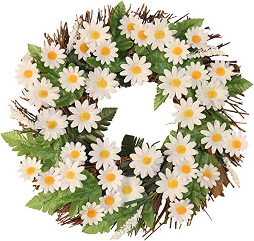 """2021 Artificial Spring Flowers Wreath for Front Door Daisy Wreath Wall 2021 Hanging Ornament Decoration Outdoor Garden Weeding Easter Decoration Home Wall online sale Decor, 12"""" outlet sale"""