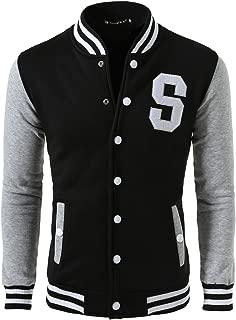 Men's Button Front Baseball School Lettermans Varsity Bomber Jacket