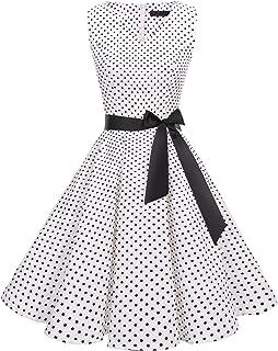 0cac355e701 Bridesmay Women s V-Neck Audrey Hepburn 50s Vintage Elegant Floral  Rockabilly Swing Cocktail Party Dress