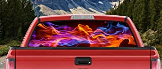 M22 Flames Dancing in Night Sky Orange Blue Purple & Amber Full Color Back Window Graphic Decal Truck Backscape 66 X 20 Inches
