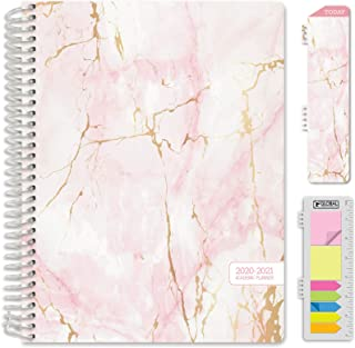 "HARDCOVER Academic Year 2020-2021 Planner: (June 2020 Through July 2021) 8.5""x11"" Daily Weekly Monthly Planner Yearly Agenda. Bonus Bookmark, Pocket Folder and Sticky Note Set (Pink Marble)"