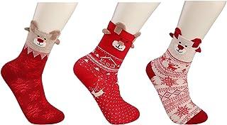 3-6 pares Algodón Navidad Calcetines para Hombres Mujeres Niñas Niños Dibujos animados Invierno Calentar Xmas Festivo Calcetines Reno Copo de nieve Monigote de nieve Papá Noel Regalo Caja
