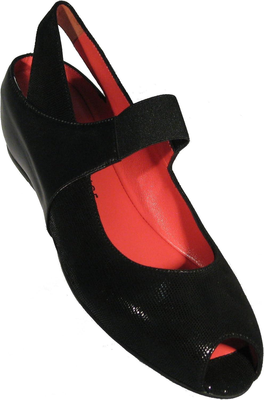 Pas De red Women's 'Silvia (R918)' in The Soft Black Lizard Nappa Leather Combination