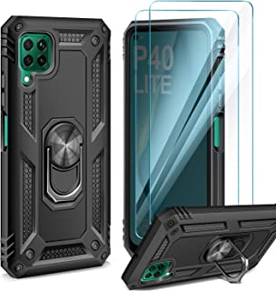 AROYI Huawei P40 Lite skal med [2-pack] skärmskydd, 360 graders roterad ringhållare silikon TPU hård PC yttre skal 2 i 1 d...