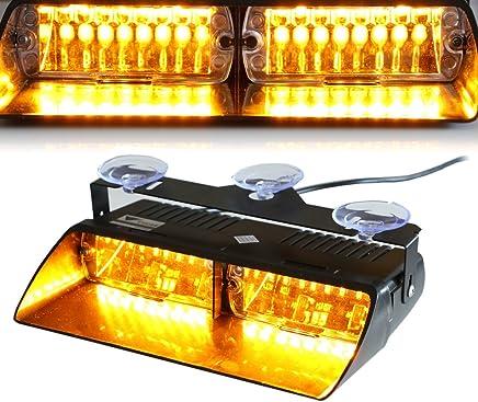 Amber HEHEMM 8LED Windshield Car Dash Strobe Lights Flash Emergency Warning Lamp