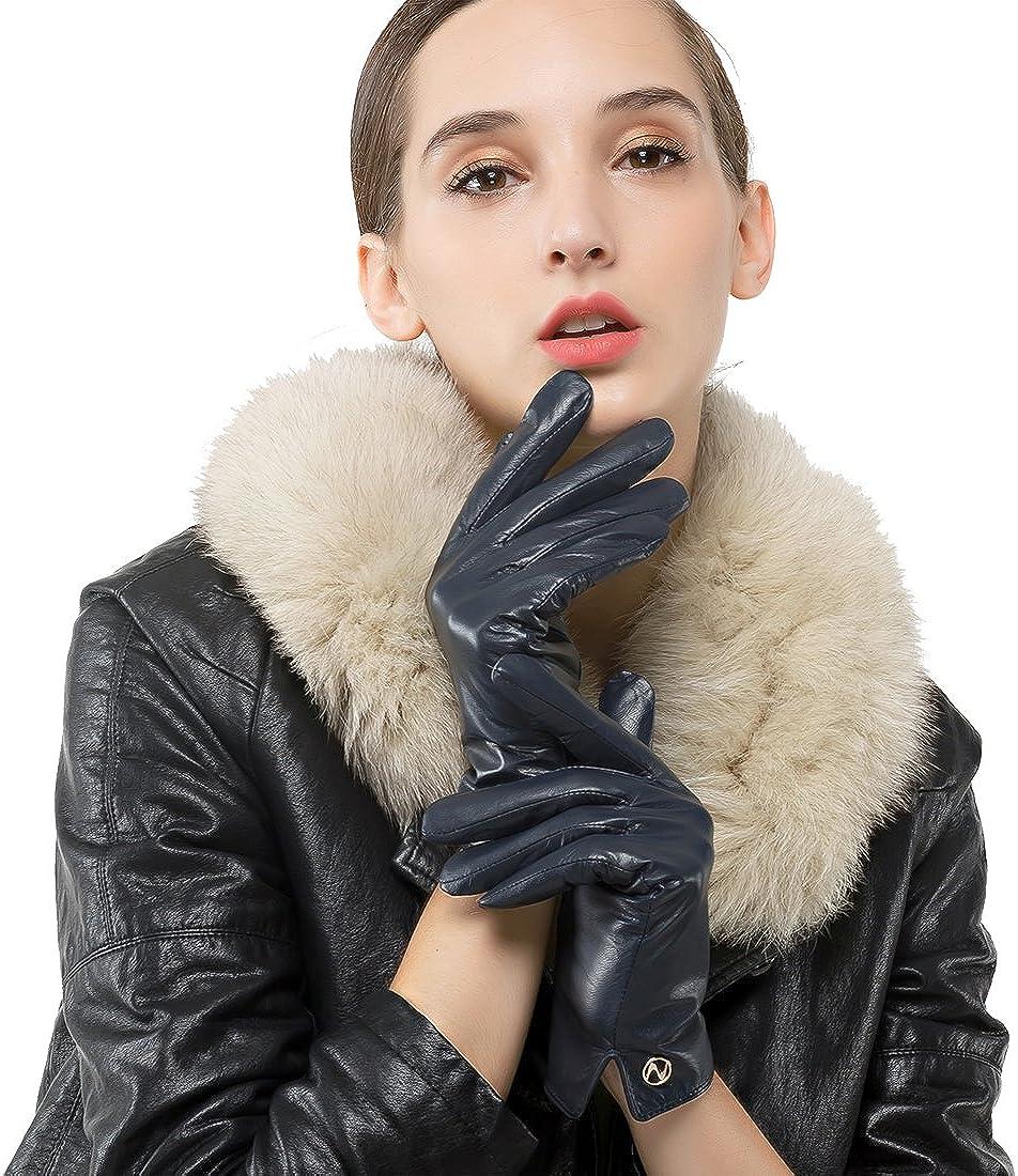 Women Italian Leather Gloves - Winter Driving Ladies Lambskin Warm Fleece Lining