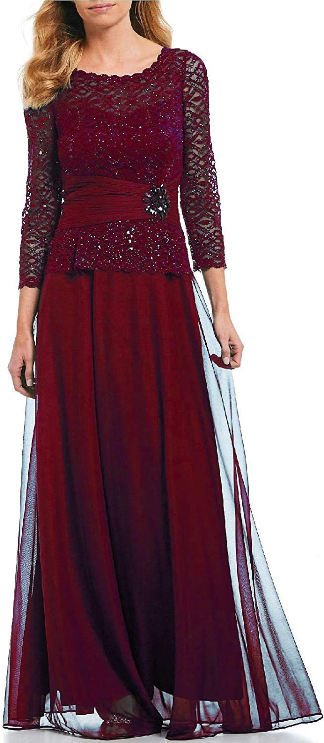 Yisha Bello Women's Sequins Lace Mother of The Bride Dress Evening Formal Gowns Long