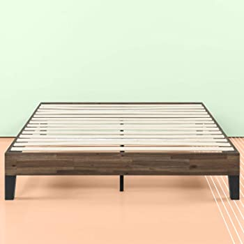 Zinus 12 Inch Acacia Wood Platform Bed, No Boxspring Needed, Wood slat support, Full