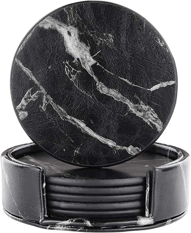 Leather Coasters With Holder Set Of 6 Black Marble Coasters For Drinks Funny Housewarming Gift Round Cup Mat Pad For Home And Kitchen