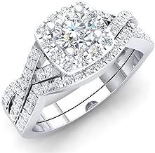 Dazzlingrock Collection 1.80 Carat (ctw) 10K Gold Round Cubic Zirconia CZ Bridal Halo Engagement Ring Set