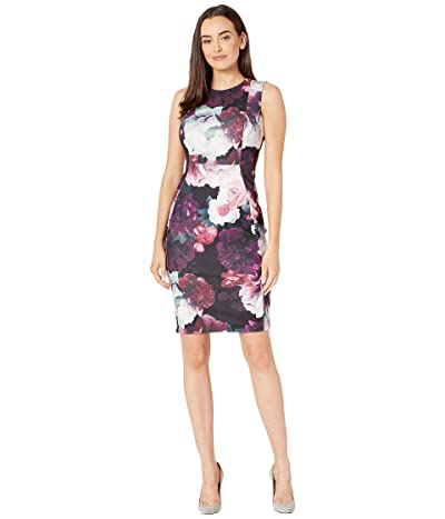 Calvin Klein Floral Print Sheath Dress (Aubergine Multi) Women