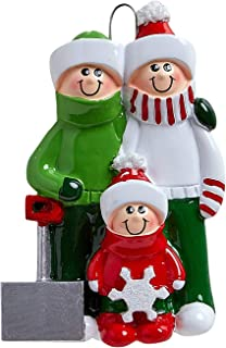 Personalized Snow Shovel Family of 3 Christmas Tree Ornament 2019 - Cute Parent Child Green Winter Cloth Hold Spade Tradition Gift Year Hug Gift Kid Shoveling - Free Customization (Three)