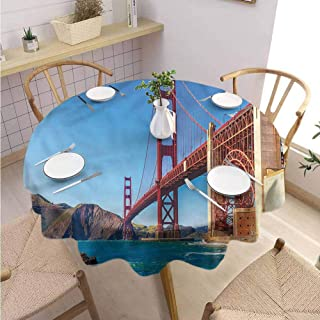 ScottDecor Christmas Tablecloth Travel Tulle Round Tablecloth Marshall Beach in California Diameter 70