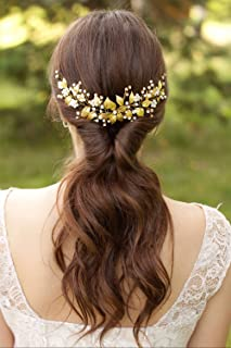 YERTTER Bridal Long Floral Crystal Leaf Bridal Hair Comb Clip Pearl Wedding Hair Accessories for Bride Bridesmaid Flower G...