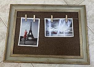 اطار صورة جداري مع حبل تعليق - لوحة فنية جدارية بخلفية بلون بني واطار خشبي اخضر للمنزل، وغرفة النوم، وغرفة المعيشة (المقا...