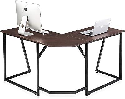 FITUEYES Bureau d'Ordinateur Bois Marron Table d'écriture en Forme de L Poste de Travail pour Bureau à Domicile 125x125x75cm LCD112501WB