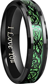 Crownal 6mm 8mm Green Carbon Fiber Black Celtic Dragon Tungsten Carbide Wedding Band Ring Engraved