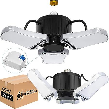 2-Pack 60W LED Garage Light, Super Bright 6000LM Garage Lights with Motion Switch, 5000K Easy-Installation LED Ceiling Lights with 3 Adjustable Panels, Ideal Bay Lights for Garage Basement Warehouse