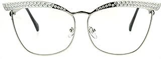 Womens Metal Rim Bling Brow Cat Eye Clear Lens Eye Glasses