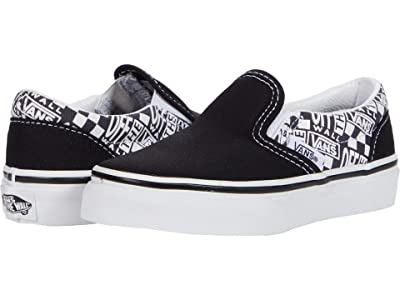 Vans Kids Classic Slip-On (Little Kid) ((Off The Wall) Black/Asphalt) Boys Shoes