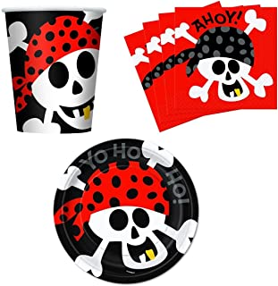 Ahoy! Pirate Birthday Party Supplies Set Plates Napkins Cups Kit for 16 by Unique