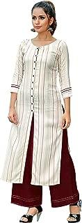 ladyline Womens Rayon Plain Kurta with Embroidery & Palazzo Pants Embroidered Indian Tunic Kurti (Size-40/ White)