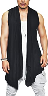 COOFANDY Men's Ruffle Shawl Collar Cardigan Lightweight Cotton Blend Long Length Drape Cape