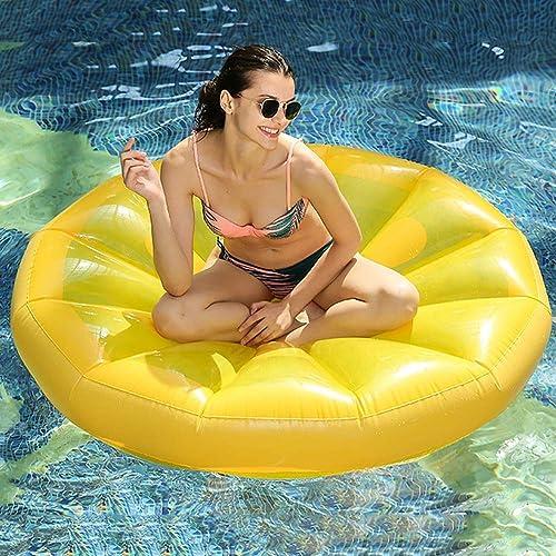 LGF Helmet Zitronen-Spielzeug Liege schwimmende Matte Sicherheit langlebiger Pool schwimmenden Bett Seebrand mit aufblasbaren R e Sommer aufblasbare schwimmende Betten m lich Weißich gelb