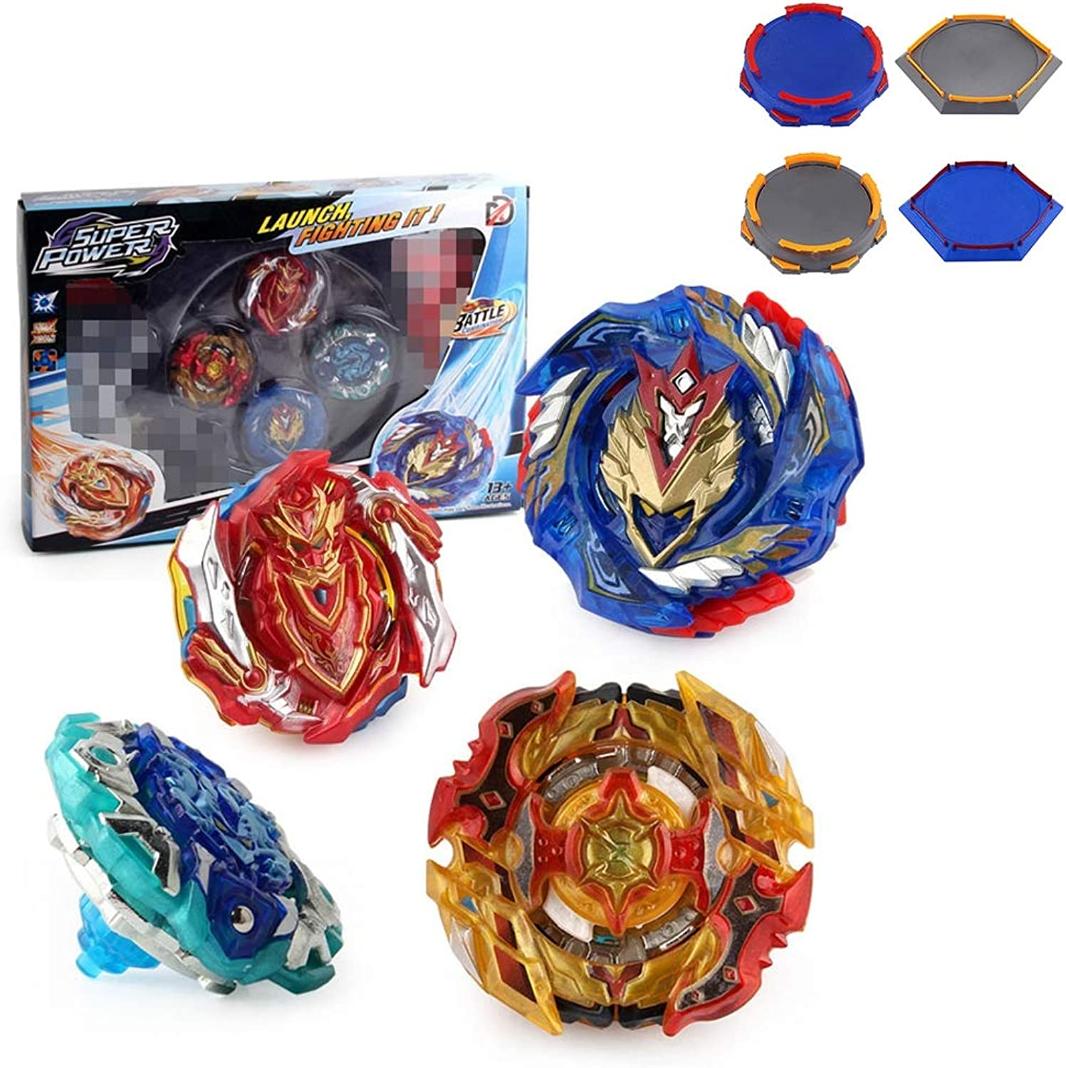 CX AMZ 4 PCS Beyblade Gyro With Medium professional Arena Classic Burst Gyro Fight Evolution Attack Pack Best Gift Arena Top Game Metal Masters Rapidity Set Model Acceleration Launcher