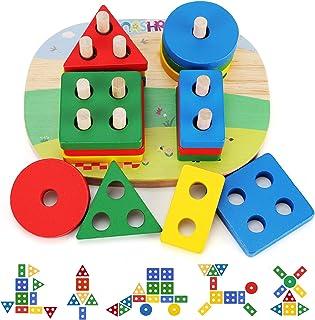 NASHRIO Juguetes educativos para niños niñas de 1 2 3 4, reconocimiento de color en forma de madera preescolar, apilado, bloques geométricos para niños y bebés, no tóxicos
