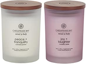Chesapeake Bay Candle Scented Candles, Peace + Tranquility & Joy + Laughter, Medium (2-Pack)