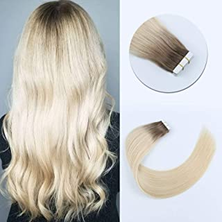 Sixstarhair 20 Pieces Tape in Hair Extensions Fashion Ombre Color Hair Extensions Rooted Chestnut Brown Fading To Ash Blonde Sunkissed Beautiful Hair Extensions [R6-60 18inch]