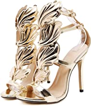 2017 New Women Pump Sexy Gold Leaf Flame Wings Buckle Strap Open Toe High Heels Shoes