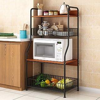 Vobajf Étagère Micro-Ondes Cuisine étagère de Rangement étagère 4 Niveaux avec 2 paniers de Fil for Four Baker Spice Accue...
