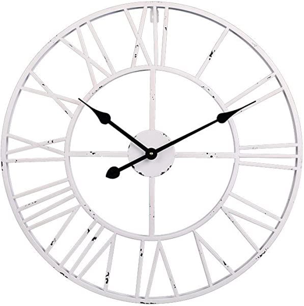 Utopia Alley Roman Round Clock Distressed Finish Metal Antique White