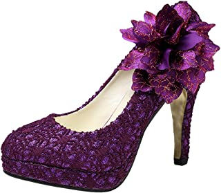 getmorebeauty Women's Vintage Lace Flowers Party Dress High Heel