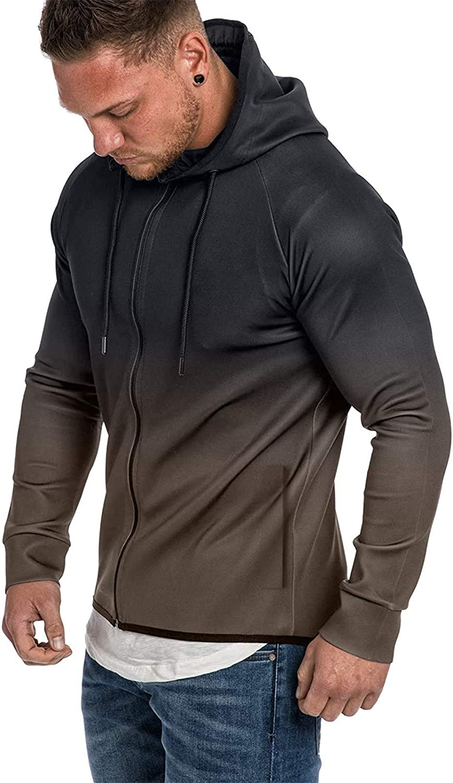 XXBR Men's Zipper Hoodies, 2021 Fall Fashion Inkjet Gradient Patchwork Long Sleeve Hooded Sweatshirts Workout Jackets