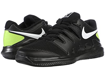 Nike Kids NikeCourt Jr. Vapor X Tennis (Little Kid/Big Kid) (Black/White/Volt) Kid