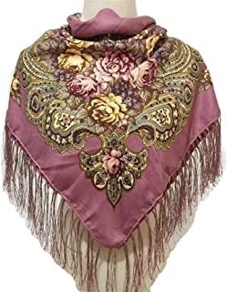 Ethnic Style Square Scarf Cotton Ladies Headscarf Flower Print Four-Side Fringed Shawl,Perfect Accent to Any Outfit (Color : 05)