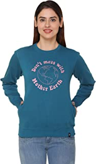 Plush Women's Cotton Full Sleeve Sweatshirt/Sweatshirts (Peacock)