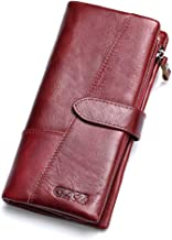 GZCZ Genuine Leather Women's Wallet Lady Card Holder Organizer Card Case Purse -Red