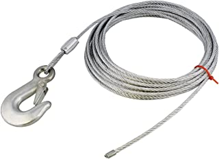 ABN Cargo Tow Trailer Tie Down Strap Cable with Hook and Winch Mount – 25ft x 3/16in ATV, UTV, Boat Tiedown
