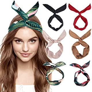 6 Pack Bow Headband for Women Knotted Hair Band Facial Cloth Headbands