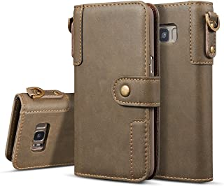 2018 Phone Covers for Samsung Galaxy S8 Plus, Retro Cowhide Texture Horizontal Flip Case with Card Slots & Wallet & Holder & Hand Strap for Samsung Galaxy S8 Plus (Color : Coffee)