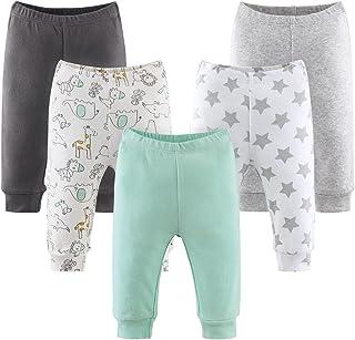 The Peanutshell Baby Pants 5 Pack Set for Boys or Girls   Newborn to 24 Month Sizes   Black, Grey, Light Green, Safari, Stars