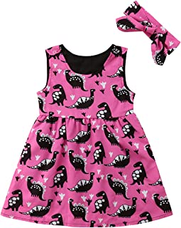 Infant Girls Two Pieces Dinosaur Print Sleeveless Overall Dress Headband Clothing Sets Summer Autumn Outfits 0-5T