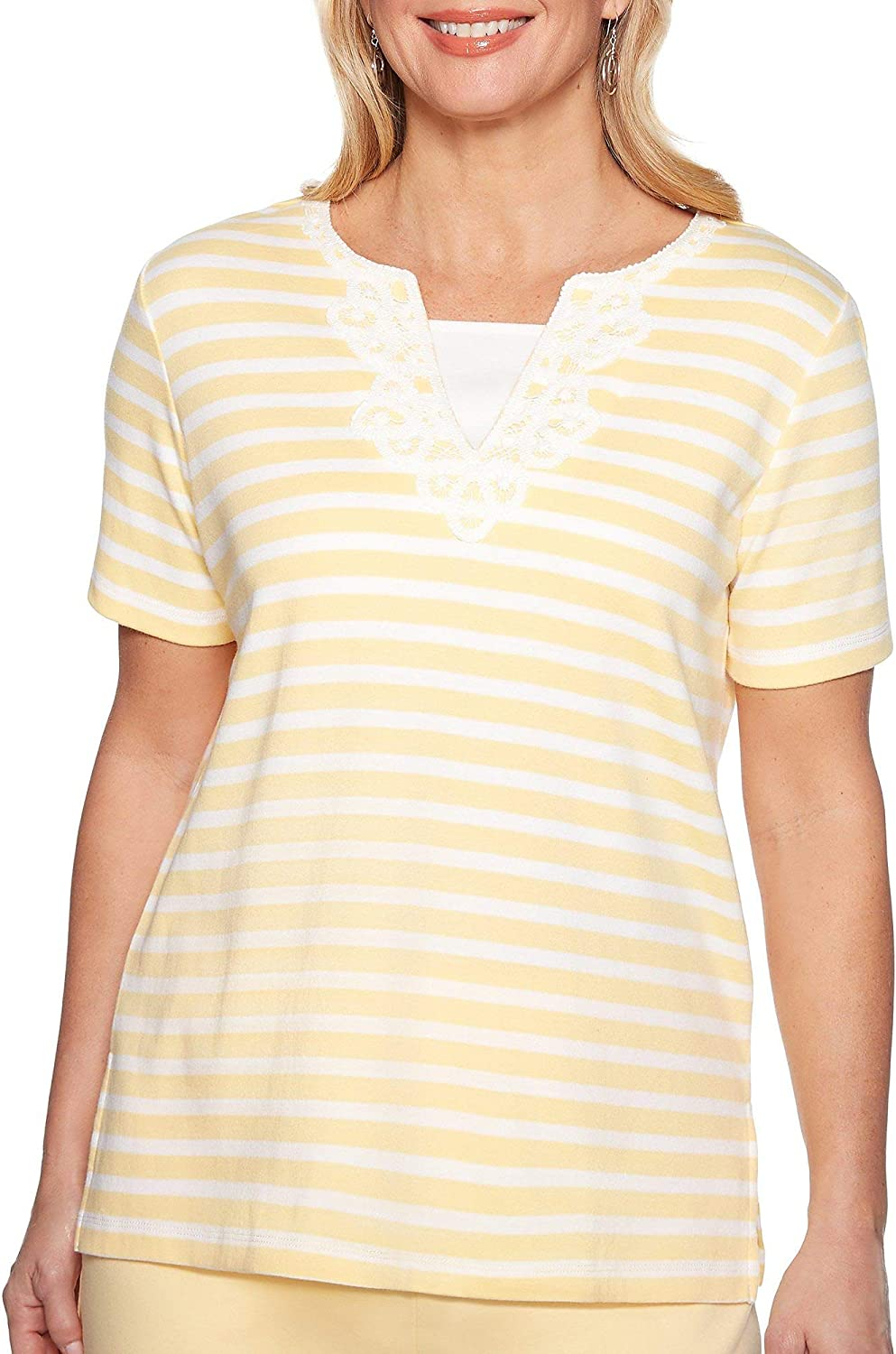 Alfred Dunner Womens Endless Weekend Striped Lace Neck Top