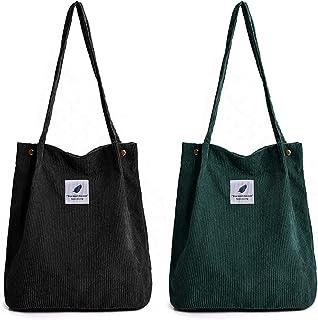YLXQJIN Umhängetasche Damen Groß Handtasche Damen 2pcs Cord Tasche Damen Schultertasche Shopper Damen für Büro Schule Eink...