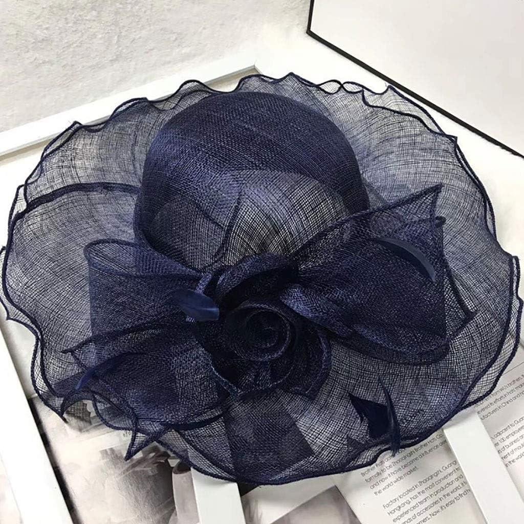 Sun Hats Lady Women Mesh Flower Hair Clip Feather Hat Wedding Party Bridal Elegant Women Bridal Hats Church Headpiece Hair Accessories Wedding Veil Hair,8 Colors