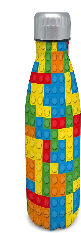 Nerthus FIH 459 Termo Doble Pared para frios y Calientes Diseño Bloques Multicolor de Acero Inoxidable 500 ml Libre de BPA, 18/8